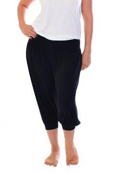 67ef1097286 Ladies Plus Size Nouvelle Cropped Harem Trousers Black 22-24