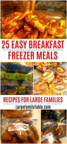 Easy Breakfast Freezer Meals your family will enjoy. Morning can be very busy in a family,so having easy to prepare breakfast meals is a life saver! You will find 25 easy recipes to try! Budget Freezer Meals, Make Ahead Freezer Meals, Cooking On A Budget, Freezer Cooking, Frugal Meals, Freezer Recipes, Real Cooking, Budget Breakfasts, Camping Meals