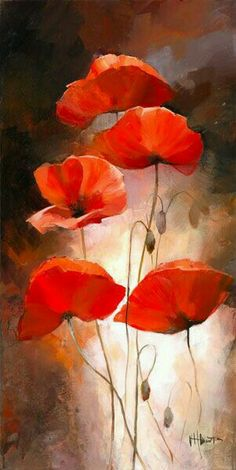 29 ideas flower art painting abstract pictures for 2019 Poppy Flower Painting, Watercolor Flowers, Flower Art, Watercolor Paintings, Poppies Painting, Cactus Flower, Oil Painting On Canvas, Canvas Art, Painted Canvas