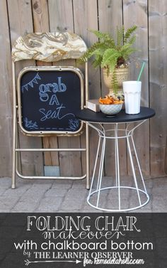 Folding chair makeover with a chalk board bottom for Remodelaholic.com