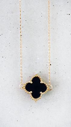 Onyx Clover Necklace