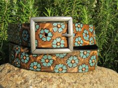 Hand Painted Leather Two Tone Tooled Wide Belt - Teal Flowers - Adult and Kid sizes Leather Belts, Leather Tooling, Leather Wallet, Tooled Leather, Leather Bracelets, Teal Flowers, Colorful Flowers, Leather Projects, Leather Crafts