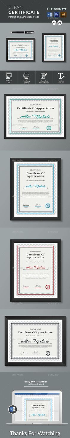 This Modern Certificates is 100% Customizable and ready to print. A help file is included with the main file. 4 different color and easy to modify. Just select the global color and change the color in a single click. Stationery Store, Stationery Templates, Stationery Design, Print Templates, Design Templates, Certificate Design, Certificate Templates, Certificate Of Appreciation, Information Graphics