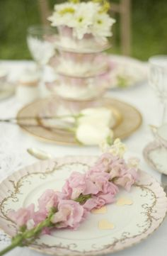 Dainty Pink Vintage Wedding Inspiration (cream, gold, light pink, place settings, vintage, shabby chic, pastel)