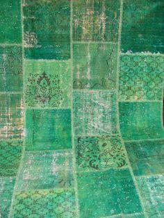 Electric Aqua & Green Revitalized Vintage Patchwork Carpet