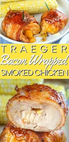 Grilled Stuffed Chicken, Bacon Wrapped Stuffed Chicken, Bacon Wrapped Chicken Tenders, Grilled Chicken Thighs, Cheese Stuffed Chicken, Grilled Chicken Recipes, Boneless Chicken, Chicken Smoker Recipes, Traeger Chicken Thighs
