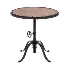 HOME DECOR – FURNITURE – TABLE – END TABLE – Metal pedestal end table with a wood top.Product: End table Construction Material: Premium grade metal allow and quality wood Color: Oak and gunmetal Features: Adjustable height Dimensions: H x Diameter Decor, Table, Colorful Table Lamp, Furniture, Round Accent Table, Portable Furniture, Wood Table, Sofa End Tables, Dining Table