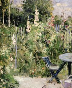 Berthe Morisot - Hollyhocks, 1884 (Musee Marmottan Monet - Paris France) at Museo Thyssen-Bornemisza Madrid Spain. Her husband, Eugene Manet, planted a garden at their new home on the rue de Villejust so that she could paint there. Impressionism Art, Impressionist Paintings, Landscape Paintings, Garden Painting, Garden Art, Berthe Morisot, Art Français, Edouard Manet, Edgar Degas