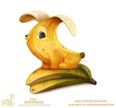 Daily Paint Bunana by Cryptid-Creations on DeviantArt Cute Food Drawings, Cute Animal Drawings Kawaii, Kawaii Drawings, Kawaii Art, Cartoon Drawings, Cute Fantasy Creatures, Cute Creatures, Animal Puns, Animal Food