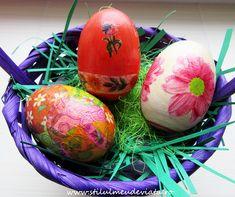 Ouă decorate cu tehnica șervețelului