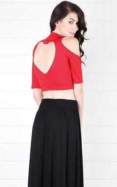 Open Shoulder Heart Cut Out Back Crop Top RED