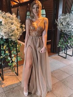 A-Line Brown V-neck Floor-Length Rhinestone Tulle Prom Dresses - Bridesmaids' & Formal Dresses