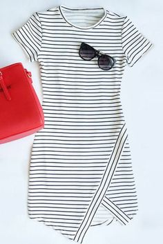SHARE & Get it FREE | Chic Round Collar Striped Asymmetric Short Sleeve Dress For WomenFor Fashion Lovers…
