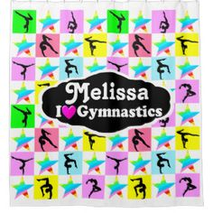 GYMNAST STAR PERSONALIZED SHOWER CURTAIN  Inspiring personalized Gymnastics bedroom décor. Your Gymnast will love being surrounded with all things Gymnastics only from Zazzle! http://www.zazzle.com/collections/gymnastics_bedroom_decor-119053556839390700?rf=238246180177746410 Gymnastics #Gymnast #WomensGymnastics #Gymnasticsdecor #PersonalizedGymnast