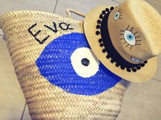 personalized handpainted straw basket and panama hat by cotton prince www.cottonprince.gr