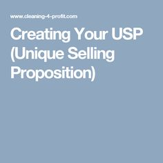 Creating Your USP (Unique Selling Proposition)