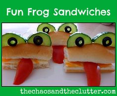Another fun lunch idea? Frog sandwiches (add fillings to a hot dog bun, use a tomato slice for the tongue, halved cucumber slices for the eyes, and black olives for the eyeballs) Bento Japon, Cute Food, Good Food, Animal Themed Food, Frog Theme, Preschool Snacks, Kid Snacks, Boite A Lunch, Food Crafts
