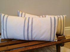 Vintage linen grain sack pillows