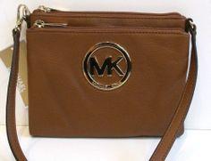 NWT NEW Michael Kors Fulton Leather Large Crossbody Purse Bag Luggage