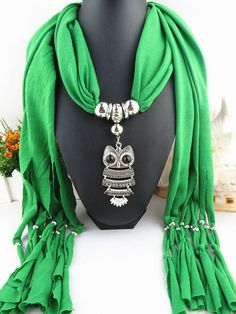 Silver Owl Pendant Necklace Scarf