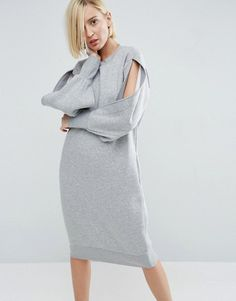 ASOS WHITE grey jersey sweatshirt dress paired with white sneakers for minimal outfit