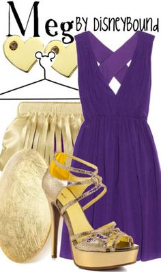 """Meg by disneybound. She was always my favorite """"damsel in distress"""" and I could pull off the dark purple and gold!"""