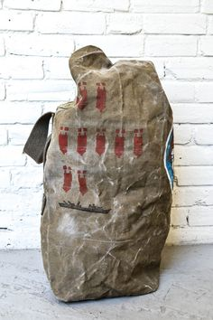 c2e97c0da569 Vintage WWII Hand Painted Military Duffel Bag by asdphilly on Etsy Military  Fashion