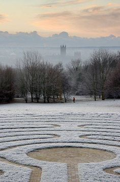 Frosty Dawn over Canterbury and the Cathedral from The Canterbury Labyrinth, University of Kent.