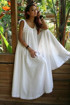 White Cotton Full Swing Bridal Wedding Lingerie Romance Honeymoon Dream Nightgown Sleepwear.  via Etsy.