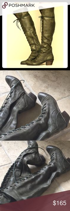 Olive Free People X Jeffrey Campbell otk boots Worn just a few times, EUC with slight wear to inner heel only...rare hard to find best fit 8 - 8.5 size normal calves fully adjustable laces, inner zip slightly halfway. Great boots just ready for a pair more my style! Ready for a loving new home💕❤️genuine high quality leather! Free People Shoes Over the Knee Boots