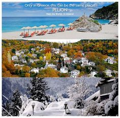 Only in Greece this can be the same place! Pelion mountain...