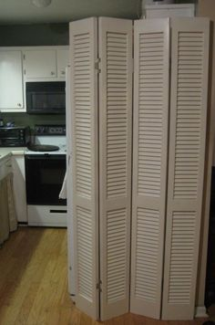 DIY Room divider from louvered bi-fold doors