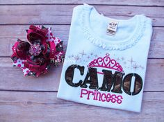 Camo Princess Shirt & Bow. Hot Pink and by ThePinkDaisyBoutique, $33.00
