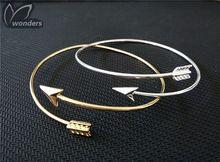 Ouro prata banhado embrulhar seta pulseira para mulheres homens decoração presente de aniversário(China (Mainland))