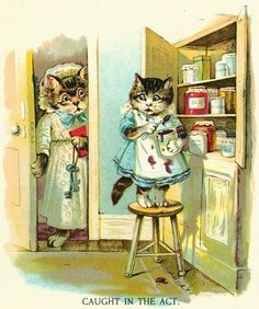 The Little Jam Thief Such a fun cats as people vintage cartoon image! A little one stands on a kitchen stool to steal a taste of jam. But, our naughty kitty gets caught in the act.  $6.00