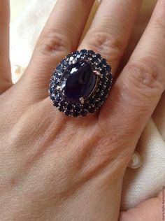 Купить Мое сокровище! Кольцо с натуральными сапфирами. - темно-синий, сапфир натуральный, сапфир в серебре