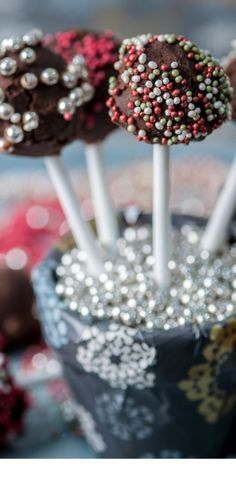 There is plenty of fun to be had and mess to be made with these chocolate truffle lollipops recipe. Add flair to the final result by rolling the truffles in edible decorations and presenting as suggested - great fun for kids!