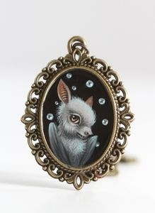 The Shy Bat - original cameo painting by Mab Graves