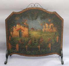 399 best fire screens antique images fireplace screens folding rh pinterest com Ornate Fireplace Screens Painted Wooden Fireplace Screen