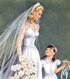 Beautiful vintage bride and flower girl.