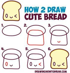 How to Draw Cute Kawaii Bread Slice with Face on It - Easy Step by Step Drawing Tutorial for Kids