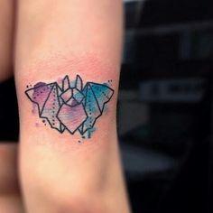 Cute watercolor bat tattoo