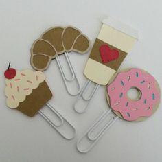 Cupcake, croissant, à aller tasse à café et Donut trombones Planner Clips accessoires (jeu de 4)