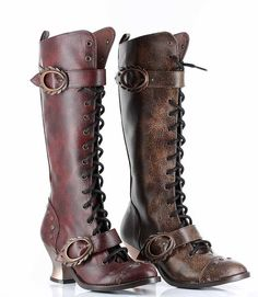 HADES Vintage Steampunk High Heel Womens Mid Calf High Laceup Retro Boots #Hades #MidCalfBoots