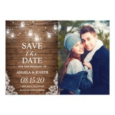Rustic Mason Jar Lights Save the Date Photo Card - string lights gifts ideas cyo personalize