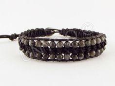 Leren heren single wrap armband met Labradorite van Unycq  op DaWanda.com