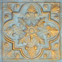 2438 Aluminum Ceiling Tile in Arctic Frost ( gold & blue ) and many other finishes is availabel at www.decorativeceilingtiles.net