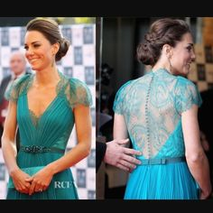 """Jenny Packham Aspen inspired worn by Duchess Kate! NWOT Custom dress purchased off etsy for an event. It didn't fit me right and was made for someone who is much more busty than I am (32D). Sleeve has lace trim. Thread color on hem is slightly lighter than chiffon. Waist is approx 26-27 inches. Long length just past the knee (I am 5'-6"""") material is gorgeous jade color in a thick chiffon that feels so luxurious. So disappointed this doesn't fit me and I hope it finds a good home! COLOR IS…"""