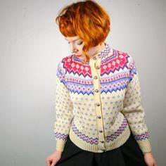 soo cute. SCANDIC fairisle wool cardigan vintage 70s by SartorialMatters, £32.00
