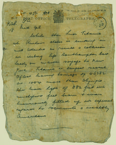 Titanic Pictures of It Sinking | The Titanic sinking telegram is estimated at 20,000-30,000. (Click on ...